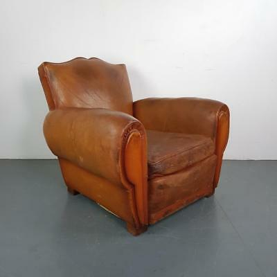 VINTAGE FRENCH CAMEL BROWN LEATHER MOUSTACHE CLUB CHAIR 20s 30s ART DECO #2210