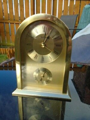 Vintage Acctim Brass Mantle Clock With Thermometer