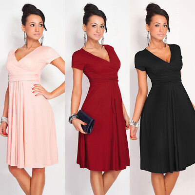 ZL-Pregnant Women Summer Maternity Dress Casual Loose V-Neck Pleated Dress  Braw