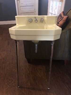 Vtg Butter cream Ceramic Porcelain Bath Sink Chrome Legs dated 1949 mid century