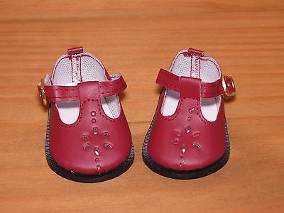 Shoes To Fit The American Galoob Baby Face Girl Doll Flower Cut Maryjane Burgun