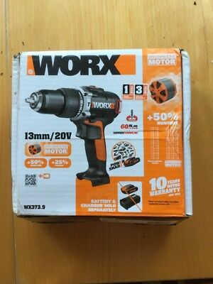 Worx WX373.9 20v Lithium-Ion Brushless Hammer Drill NEW. Includes X 2 Batteries
