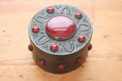Pewter covered wooden box with Lid & stones Arts & Crafts period 9cm diameter