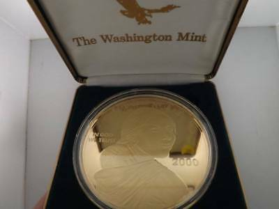 2000 4 Troy Ounces .999 Fine Silver Round Sacagawea 24Kt Gold Layered Coin 21518