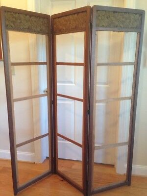 Antique Oak Room Divider Screen, Arts and Crafts, Mission Early 1900's Decorator