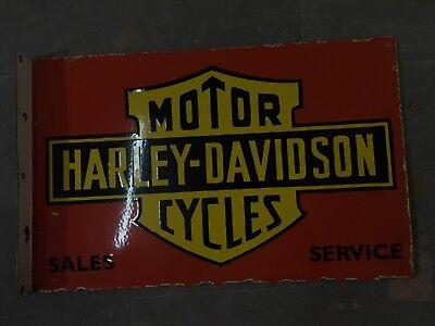 "HARLEY DAVIDSON Porcelain Sign SIZE 24"" X 16"" INCHES with flange 2 sided"