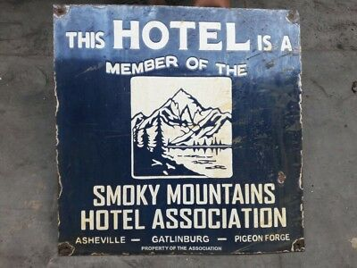 "PORCELAIN SMOKEY MOUNTAINS ENAMEL SIGN 18"" x 18"" Inches"