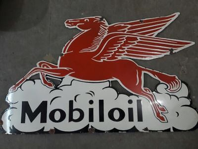 "Porcelain MOBILOIL Sign size 25"" X 42"" Inches"