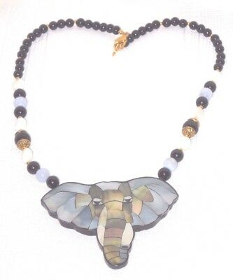 """Lee Sands Signed """"LS"""" Elephant Inlaid Necklace Mother of Pearl & Onyx Quartz"""