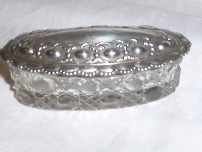 Vintage collection antique solid silver hallmarked 1903 lid and glass pot