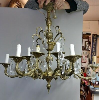 Antique/Vintage Brass/Bronze/Gold gorgeous Crystal Chandelier With 12 Lights