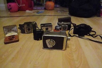 Lot of (7) Vintage, Antique Cameras & 1 Lens (1 8mm) - Kodak, Elgeet, Agfa, etc