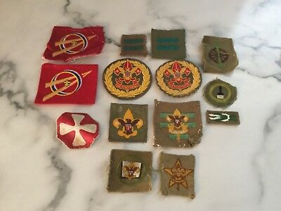 VINTAGE lot of  BOY SCOUTS OF AMERICA RANK AND POSITION PATCHES BADGES