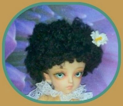 BJD doll Black mohair wig for 17cm circumference head doll    **  NO DOLL  **