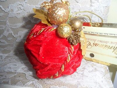 Victorian Style Christmas Ornament - CRUSHED VELVET EMBELLISHED BALL w/Tag
