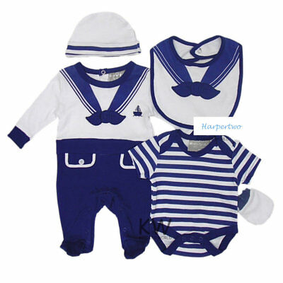 Baby Boys 5pc Gift sleepsuit Bodysuit hat bib Mittens sailor Tiny Prem NB 3-6 M