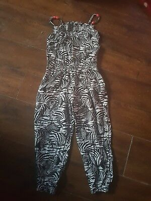 girls m&s black and white zebra print jumpsuit age 6-7