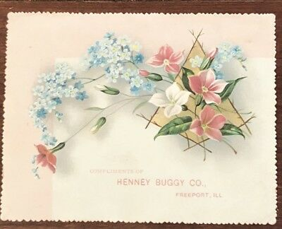 Victorian Trade Card-Compliments Of Henney Buggy Co. Freeport, IL