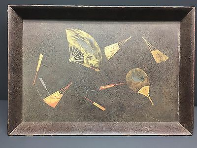 Japanese Meiji Antique Wood Lacquer Gold & Silver Maki-E Tea Ceremony Tray