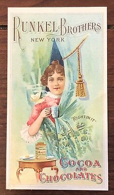 1875 Victorian Trade Card-Runkel Brothers, New York, Cocoa And Chocolates