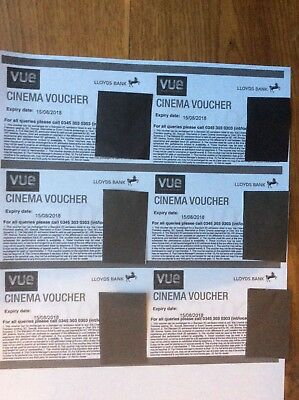 Club Lloyds 6 x unused Vue Cinema Ticket Vouchers