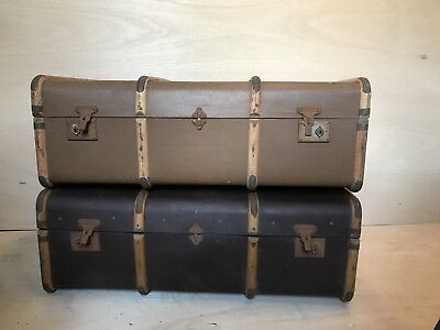 Vintage antique Steamer suitcase wooden Banded Flat Top Trunk x2 coffee table