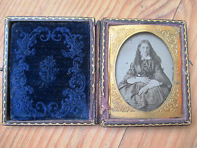 19th Century Woman Photography Dry Plates Box with Blue Velvet Interior Antique
