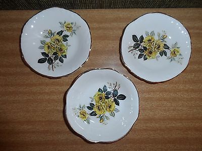 Vintage Crown Luton Small Bowl & Plates X 3- Made In England