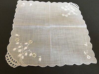 "Vintage Floral Hankie Handkerchief Lily Of The Valley 10"" J-32"