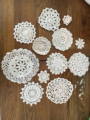 Set Of 12 Cream Decorative Vintage Lace Crotchet Doilies Coasters
