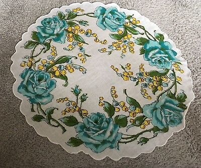 Vintage Round  Green Flower Floral Lily Of The Valley Hankie Handkerchief P-18