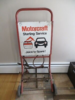 vintage gas station motorcraft battery dolly w/sign Gas & oil w/wheels & cables