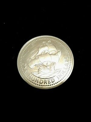Gold Barbados 350th anniversary gold 100 dollar coin