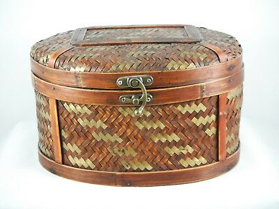 Oval Decorative Wicker Basket With Hinged Lid and Latch