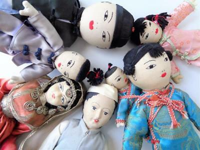 7 Vintage Asian Ethnic Cloth Dolls Chinese Family Man with Painted Eyes on Back