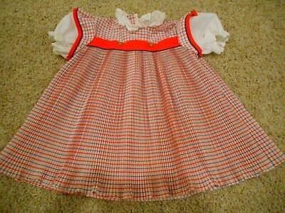 Vintage 1960s Child Doll Girl Clothing Dress Smock Ruffled Red White Blue 4-5T