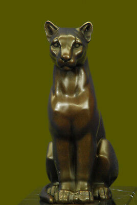 Collectible Statue bronze sculpture Animal SIGNED BARYE LARGE SLEEK COUGAR DEAL