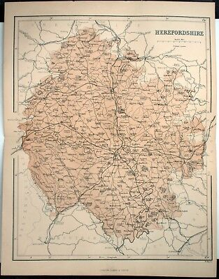Original Victorian 1868 Coloured Sheet Map Folded: Herefordshire