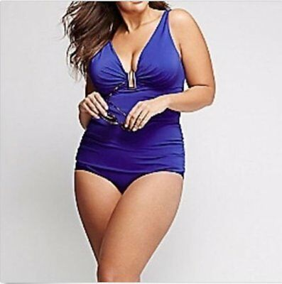 c9b78060c3387 New Cacique Swim Lane Bryant Blue Hardware Swim Tank Tankini Balconette Bra  36C
