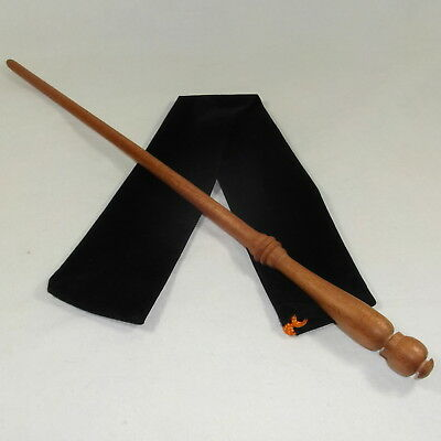 """16"""" Hand Turned Amphora Mahogany Wood Magic Wand Witch Wizard Wicca w/Velvet Bag"""