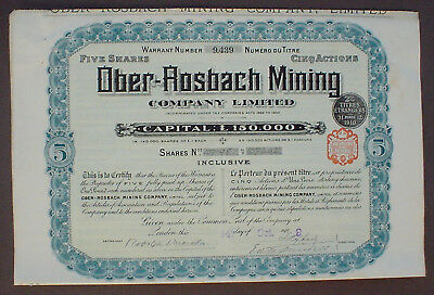Ober - Rosbach Mining Company Lim. 5 Shares London 1929 unentwertet + Kupons