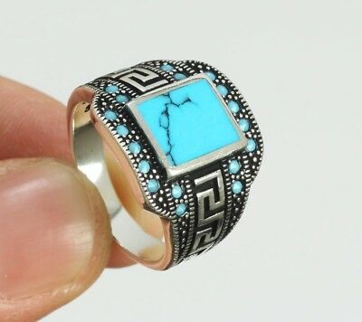 Elegant ! 925 Sterling Silver Jewelry Mens Jewelry Blue Turquoise Men's Ring