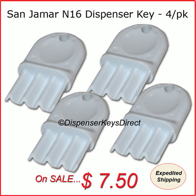 San Jamar N16 Dispenser Key for Paper Towel & Toilet Tissue Dispensers (4/pk.)