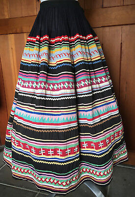 VNTG 1930s? SEMINOLE INDIAN Patchwork SKIRT ~ Awesome Detail ~ Well-Loved!