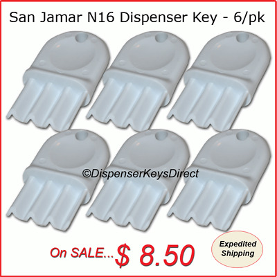 San Jamar N16 Dispenser Key for Paper Towel & Toilet Tissue Dispensers (6/pk.)