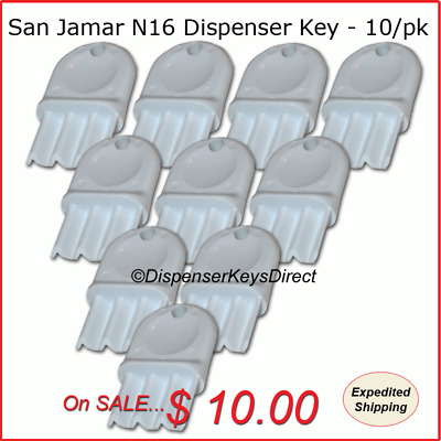 San Jamar N16 Dispenser Key for Paper Towel & Toilet Tissue Dispensers (10/pk.)