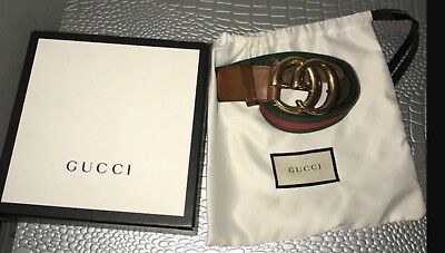 100% AUTHENTIC - Size: 86 / 110 - GUCCI Nylon Web belt with Double G buckle