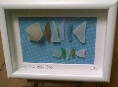 Framed Irish Sea Glass art ~  Fish Angler Fishing ~ Father's Day gift ~ Ireland