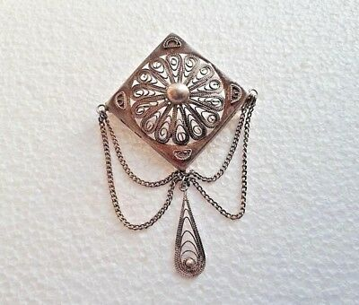 Imperial Russian 84 Silver Brooch with pendant 19th century
