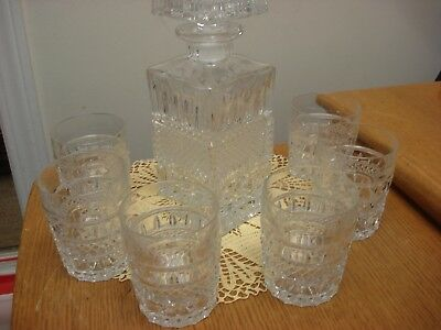 Masculine Crystal WHISKEY DECANTER SET w. ground stopper Glass 7 pieces